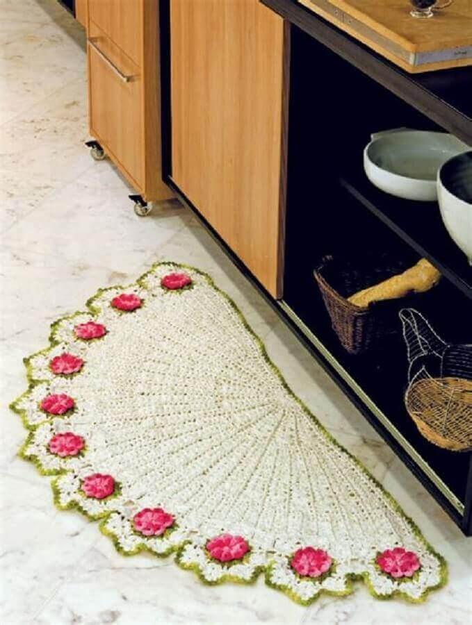 decoração de cozinha com tapete de crochê com flores em formato meia lua Foto Wiring Diagram