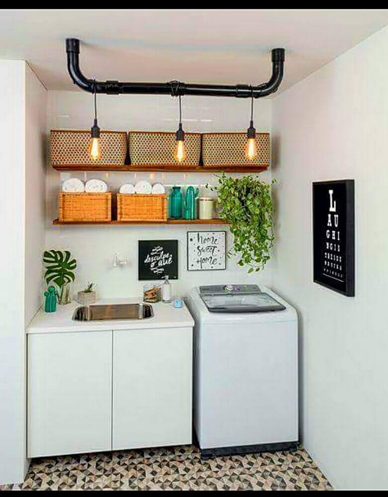 decoração de lavanderia com caixa organizadora grande Foto Quadrilha Design e Arquitetura