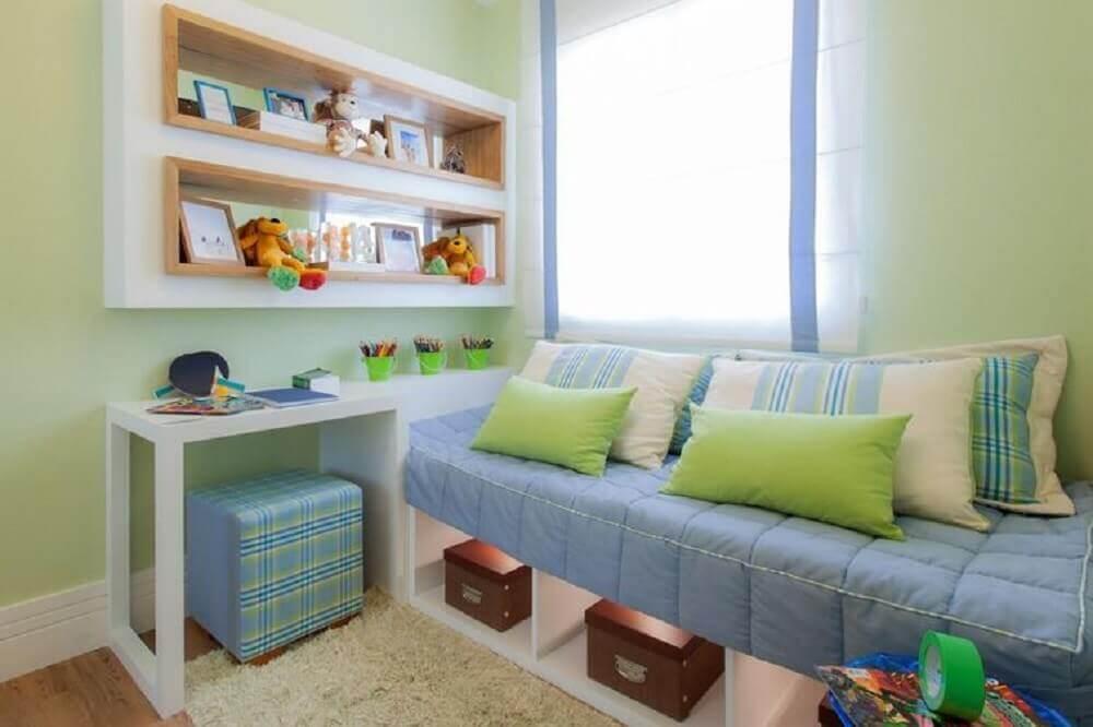 decoração de quarto infantil com caixa organizadora embaixo da cama Foto Sesso & Dalanezi