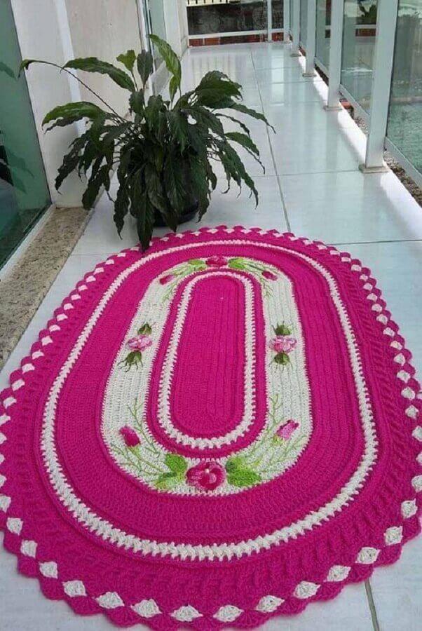 decoração de varanda com tapete crochê oval com flor Foto Pinterest