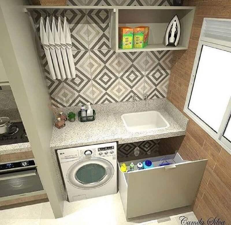 decoração lavanderia pequena com azulejo estampado e gaveta grande Foto My Social Mate