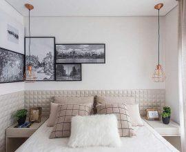 decoração minimalissta para quartos de casal modernos com pendente rose gold sobre criado mudo e quadros com paisagens Foto This Is The Crosby