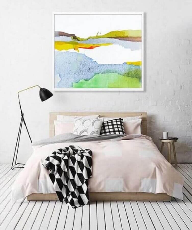 decoração minimalista com grande quadro para quartos de casal modernos Foto Pinterest
