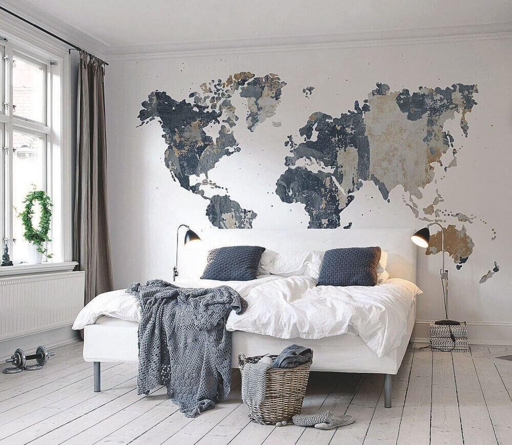 decoração minimalista para quarto de casal moderno com mapa na cabeceira da cama Foto My Amazing Things