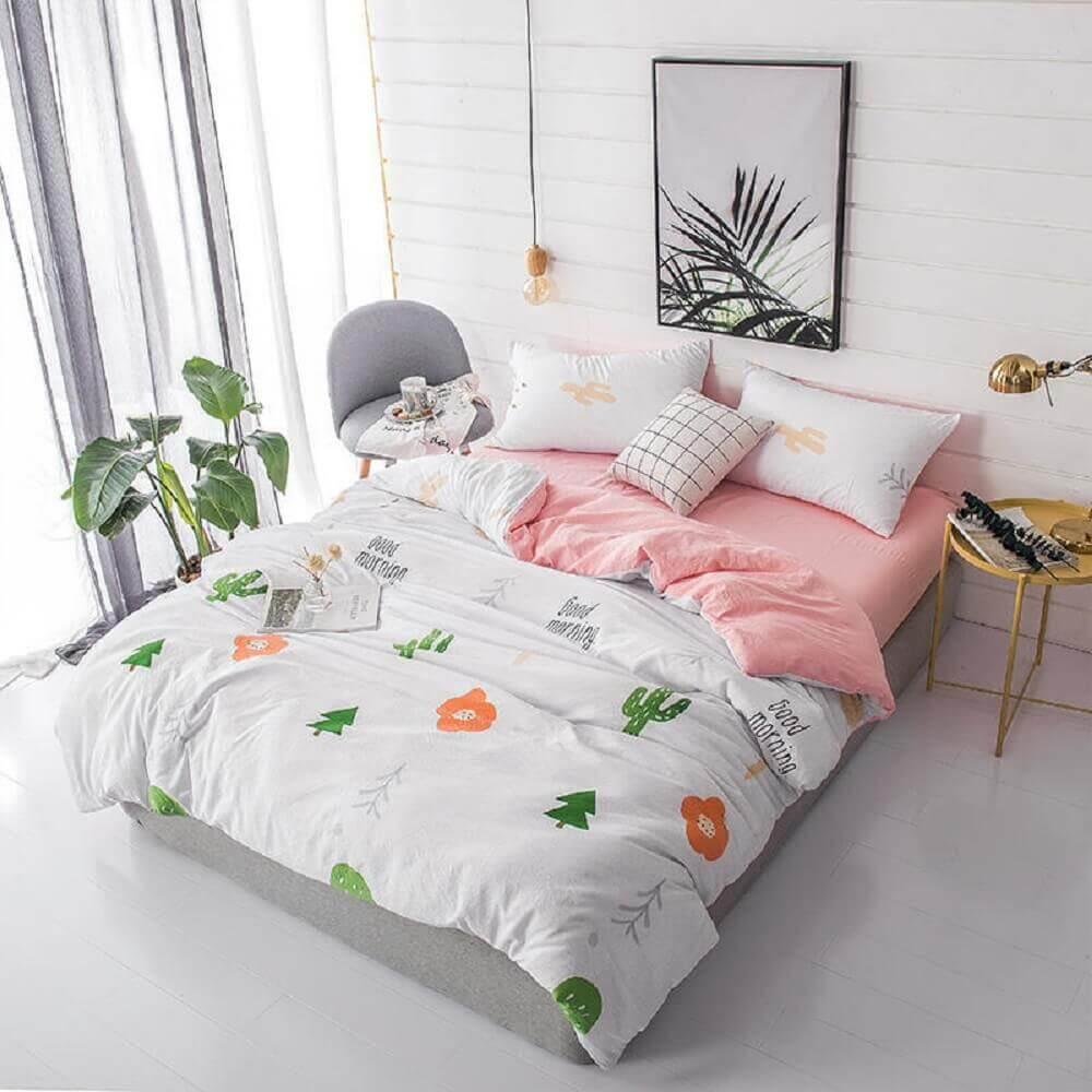 decoração minimalista para quarto feminino todo branco com pendente simples ao lado da cama Foto Aliexpress