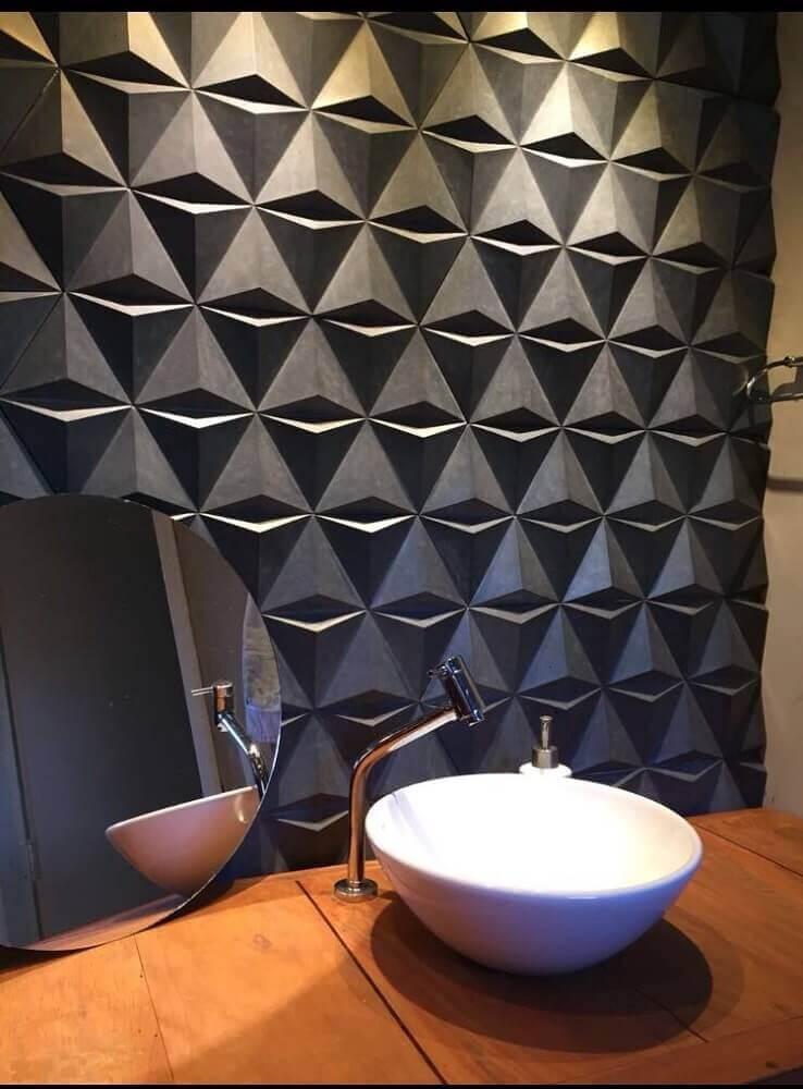 decoração moderna com revestimento 3d para banheiro - foto admirato