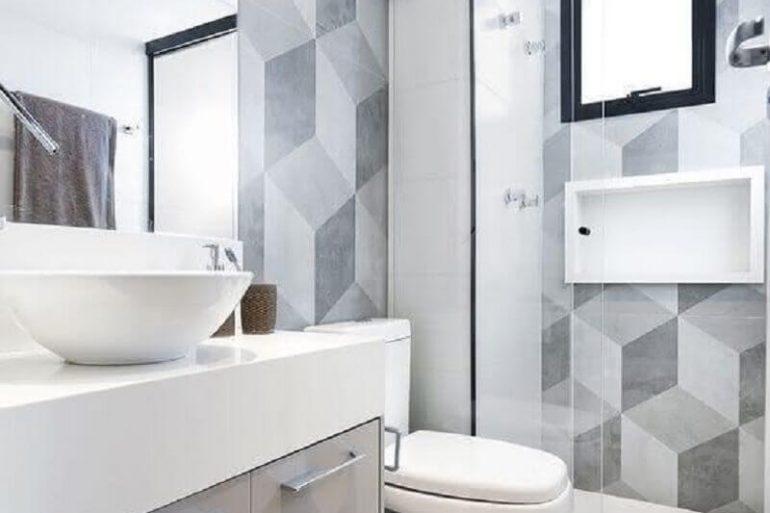 decoração para banheiro pequeno branco e cinza Foto Casa de Valentina