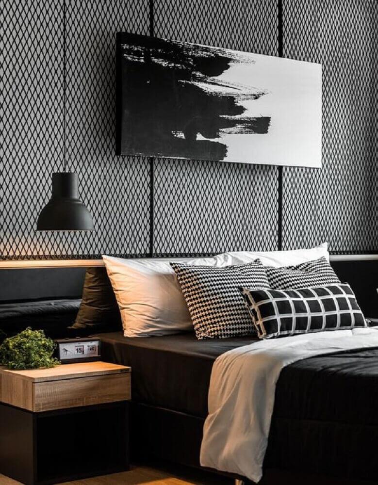 decoração para quarto moderno preto com cabeceira de aramado e criado mudo de madeira Foto Behance