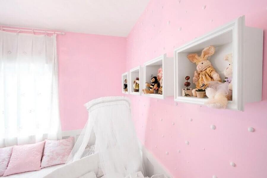 enfeites para quarto de bebê feminino branco e rosa Foto Eduarda Corrêa