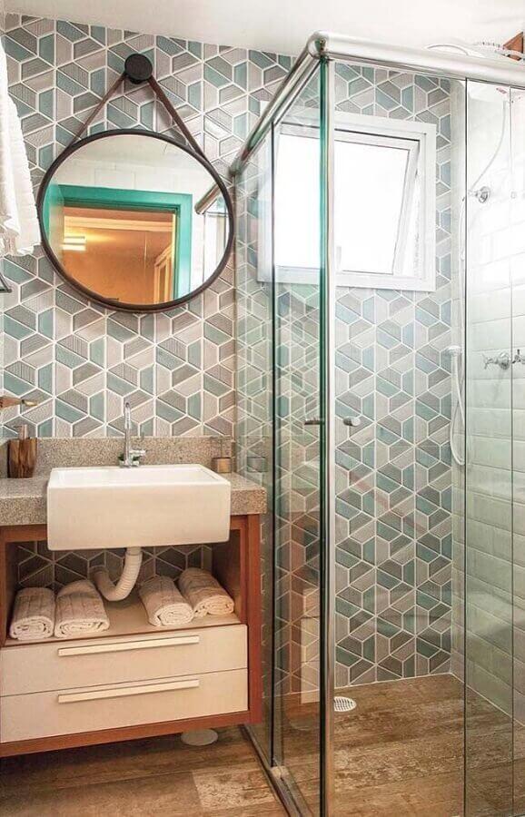 espelho redondo para decoração de banheiro pequeno Foto Archzine