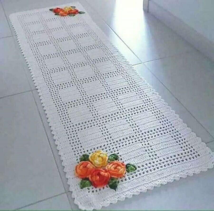 flor de crochê para tapete branco Foto Pinterest