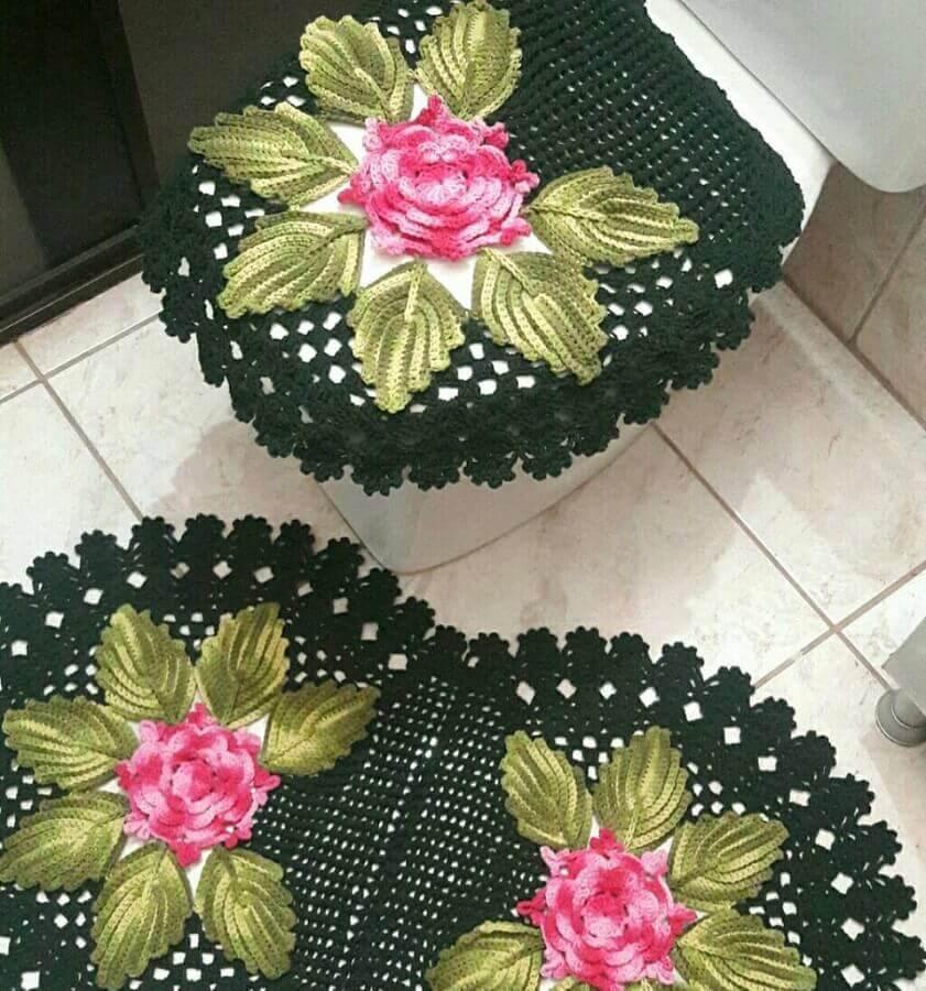 flor de crochê para tapete verde Foto Pinosy