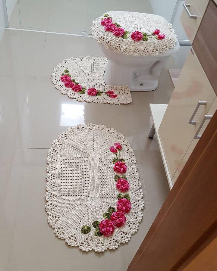 flor de crochê simples para tapete branco Foto Pinterest
