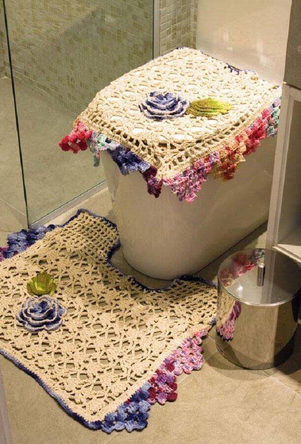 flor de crochê simples para tapete de banheiro Foto Salon urody