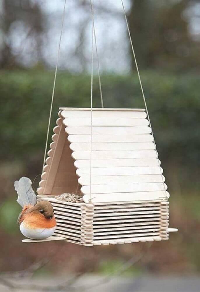 ideia de artesanato com palito de picolé - casinha para passarinho Foto Pinterest