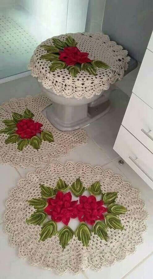 jogo de tapete de crochê com flores para decoração de banheiro Foto Beautiful Crochet Patterns