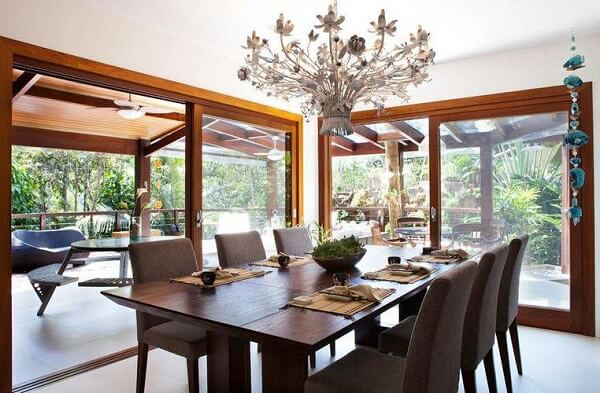 lustres para sala de jantar no estilo rústico são lindos