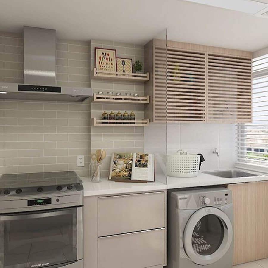modelo de armário para lavanderia pequena integrada com cozinha Foto Pinterest