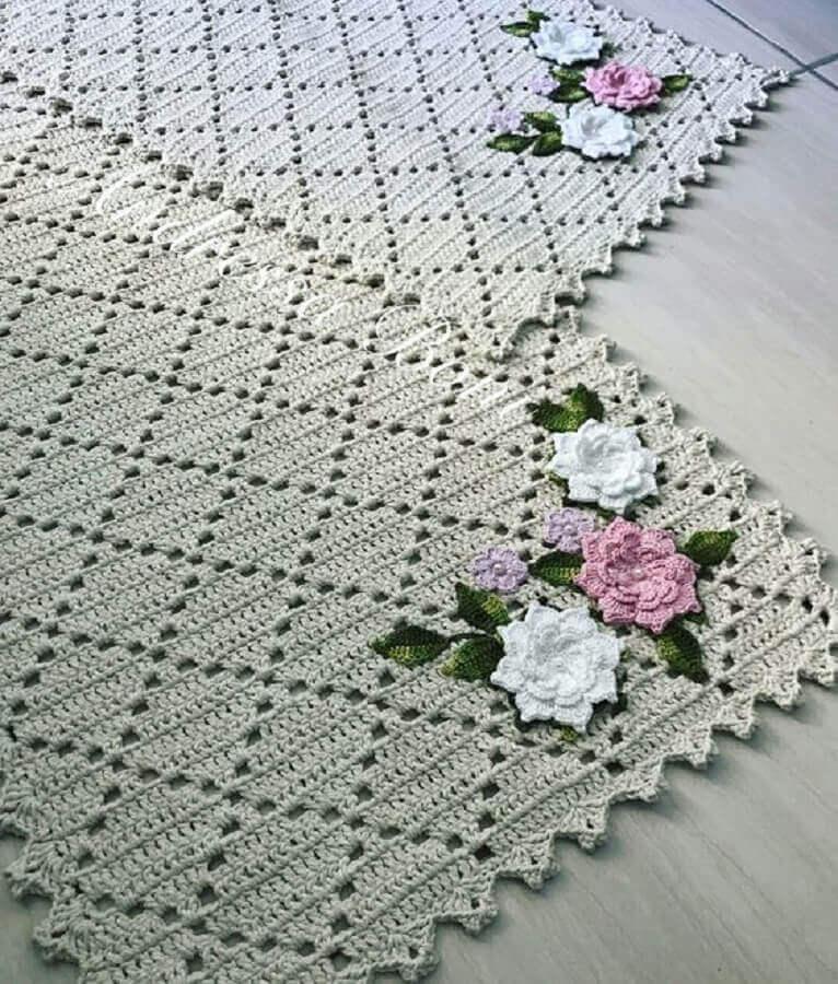 modelo delicado de tapete de crochê com flores Foto Pinterest
