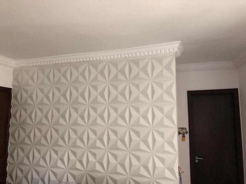 parede branca com revestimento 3d adesivo - coleção admirato