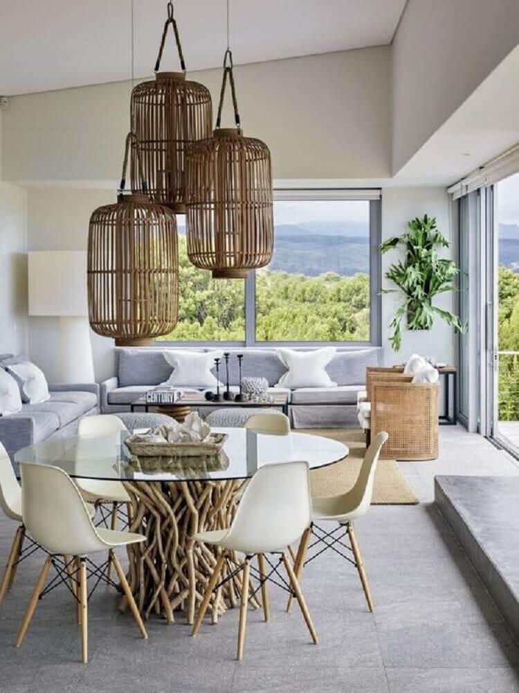 pendente rustico para sala de jantar com mesa redonda com tampo de vidro e base rústica Foto Pinterest