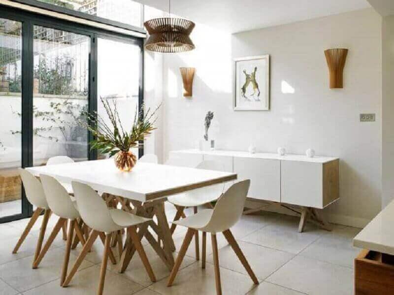 pendente rustico para sala de jantar toda branca com estilo minimalista Foto Möbel Ideen