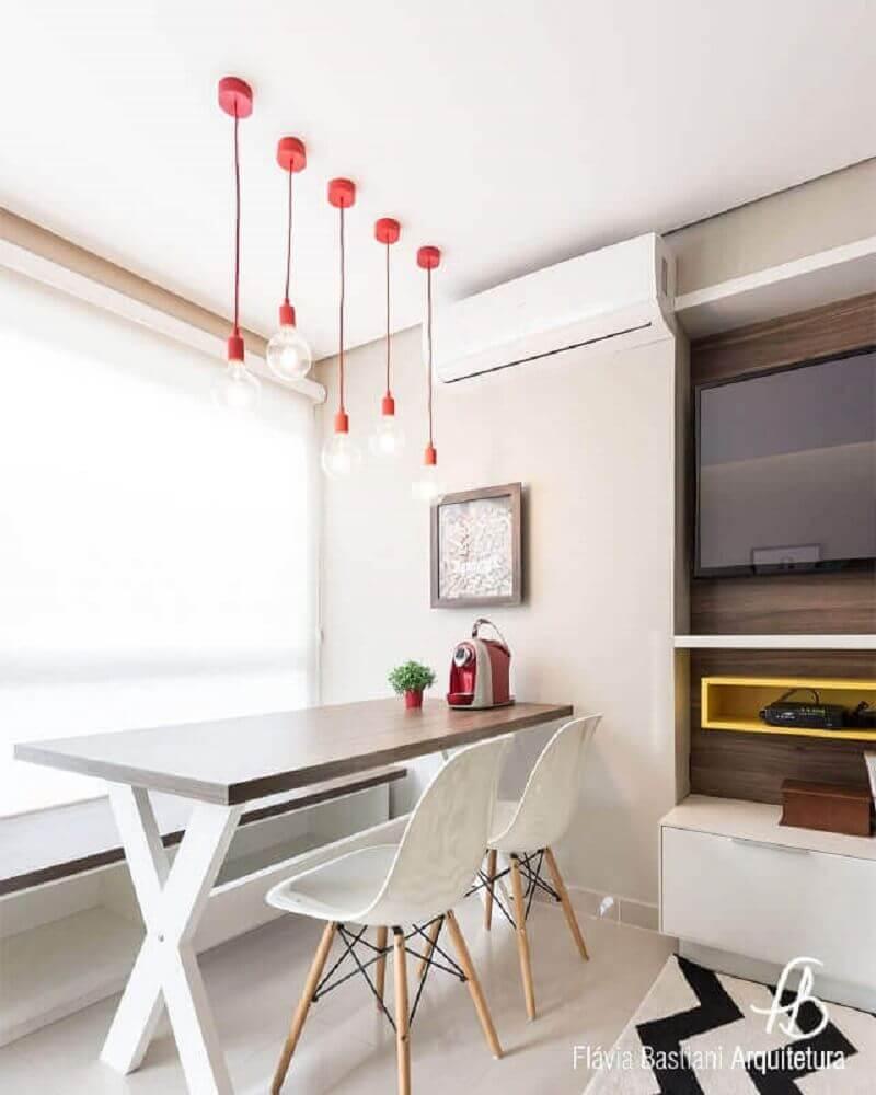 pendente sala de jantar pequena com decoração minimalista Foto Pinterest