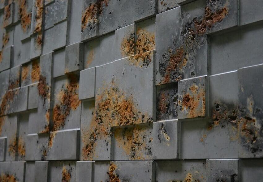 placas de revestimento 3d com acabamento enferrujado - coleção admirato