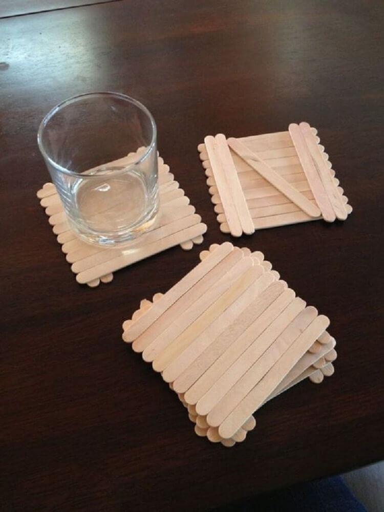 porta copos de artesanato com palito de picolé Foto Easy DIY Craft Ideas