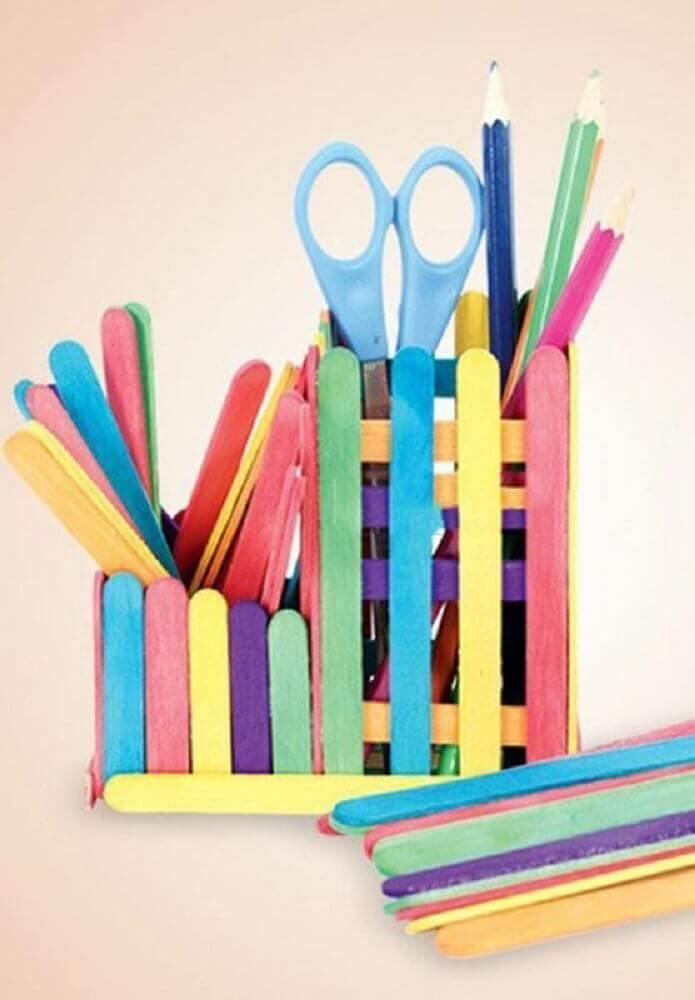 porta treco colorido de artesanato com palito de picolé Foto Home Decoration Ideas