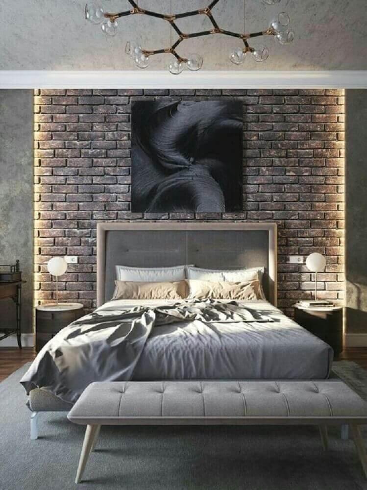 quartos modernos decorados com parede de tijolinho à vista  Foto Bella Rustica