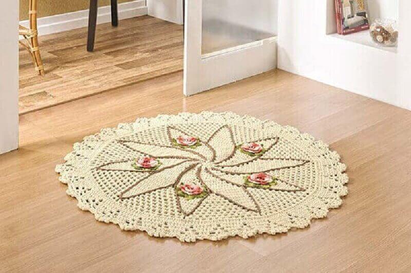 tapete de crochê redondo com flores  Foto Pinterest