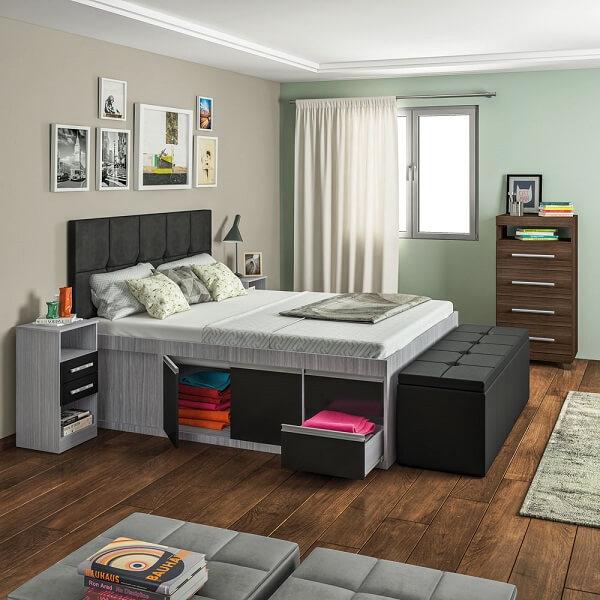 A cama com gavetas é uma maneira pratica de como organizar o quarto