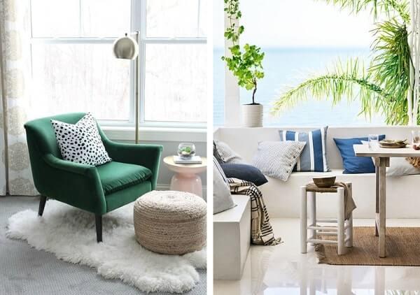 Almofadas decorativas na sala de estar