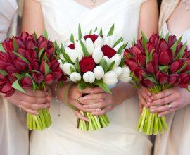 As noivas amam o buquê com flor de tulipa