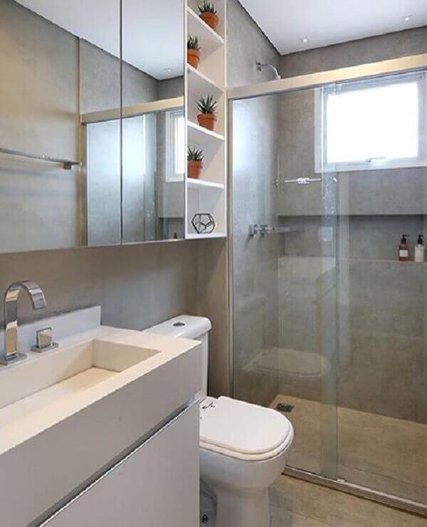 Banheiro pequeno decorado cimento queimado