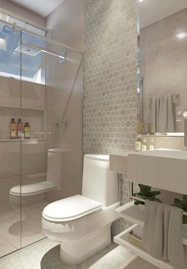Banheiro pequeno decorado e bonito