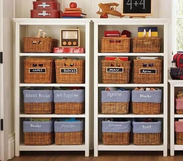 Como organizar quarto infantil com cesta de vime
