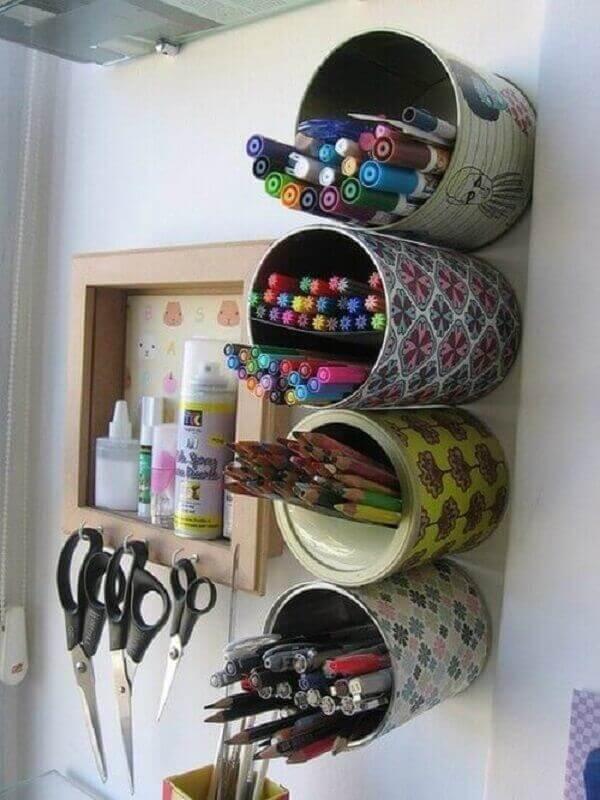 Como organizar quarto latas recicláveis