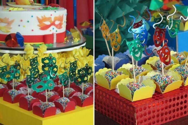 Decoração de carnaval com doces com detalhes de máscaras Foto de Rabiskos