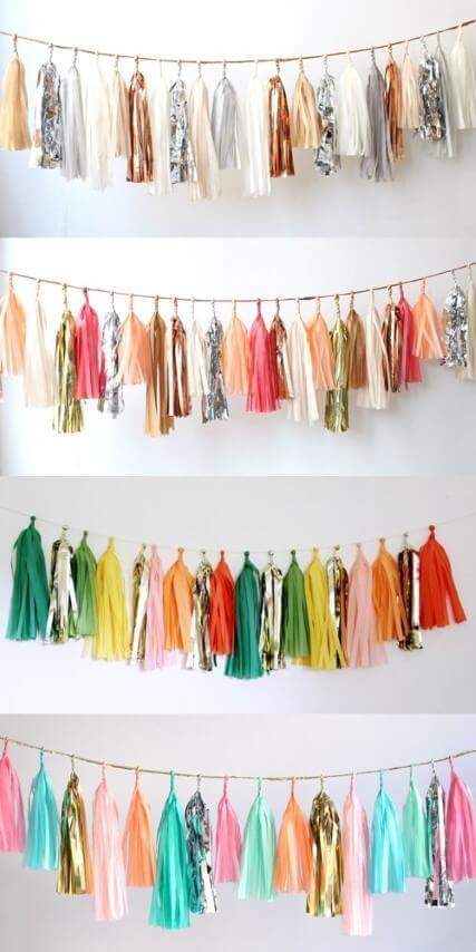 Decoração de carnaval com varal com pompons de papel colorido Foto de Pinterest
