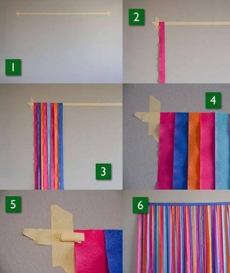 Faça você mesmo decoração de carnaval com cortina de papel crepom Foto de Fazendo a Nossa Festa