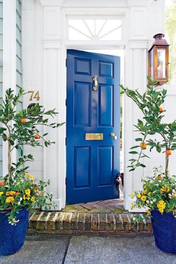 Fachada colorida com porta de entrada azul. Fonte: Pinterest