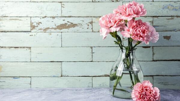 Flores do campo cravo em vaso de vidro
