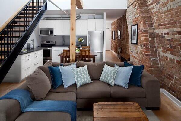 Marrom em sofá e almofadas decorativas azuis