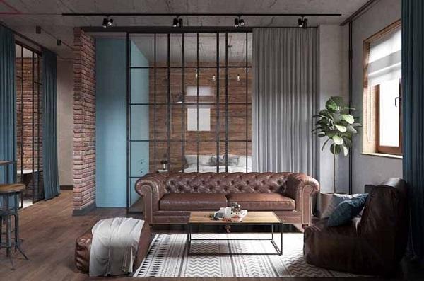 Marrom em sofá na decoração industrial