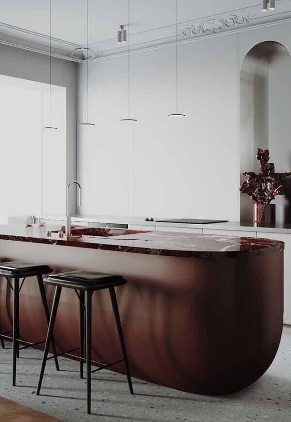 Marrom na bancada da cozinha