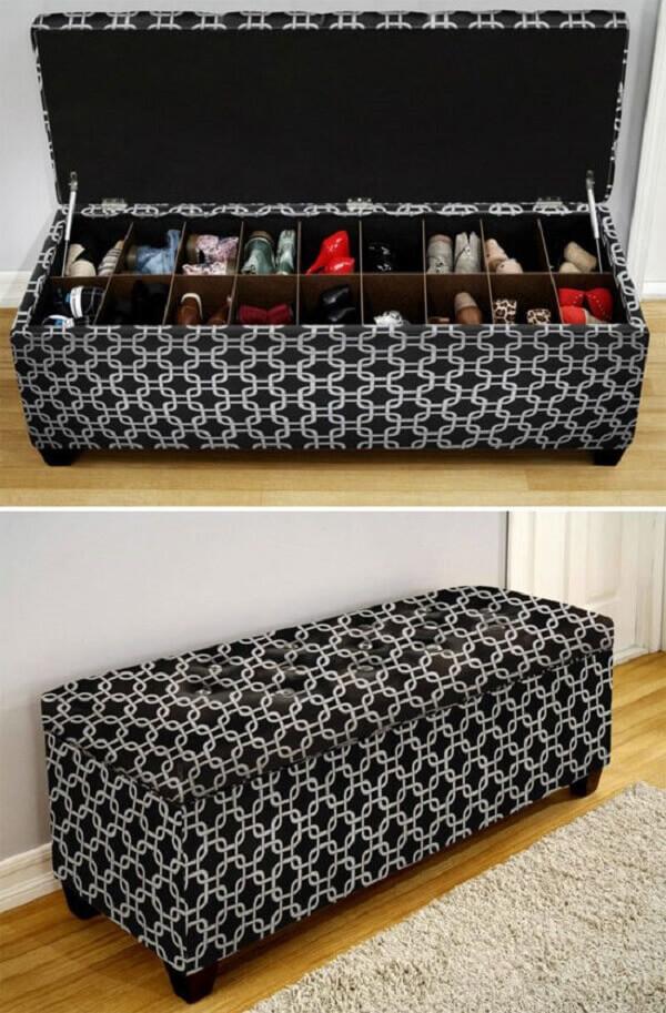 O banco baú é uma forma inteligente de como organizar o quarto