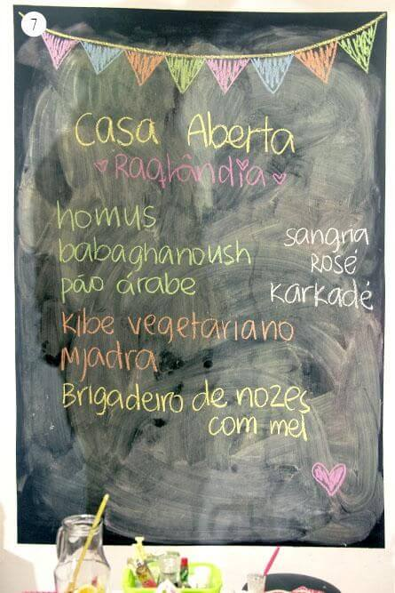 Parede chalkboard com cardápio Projeto de Casa Aberta