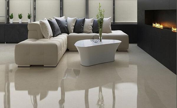 Porcelanato líquido na sala de estar com lareira